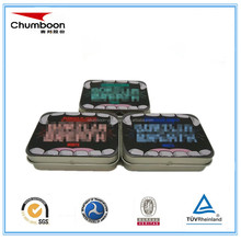 small hinged rectangle mint tin can / CMYK logo embossed tin box / travel candy metal box