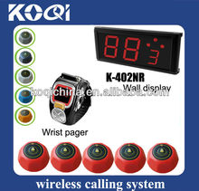 Wireless restaurant bell suits for meseros K-402NR-200C-M Red waiter buzzer