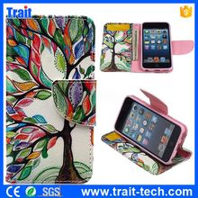 Painting Tree Wallet Style Magnetic Flip Stand TPU+ PU Leather Case for iPod Touch 5