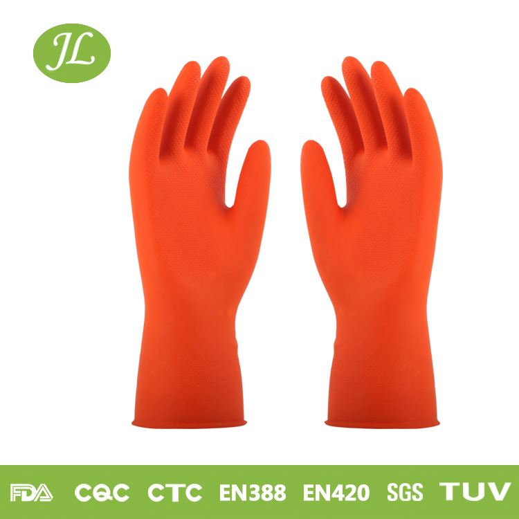 Safe touch red S size rubber household glove