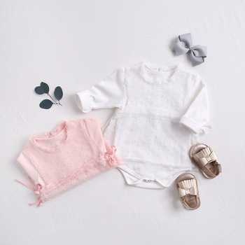 Toddler Baby Girl Clothes Set Round  Neck Top romper +Vest Outfit