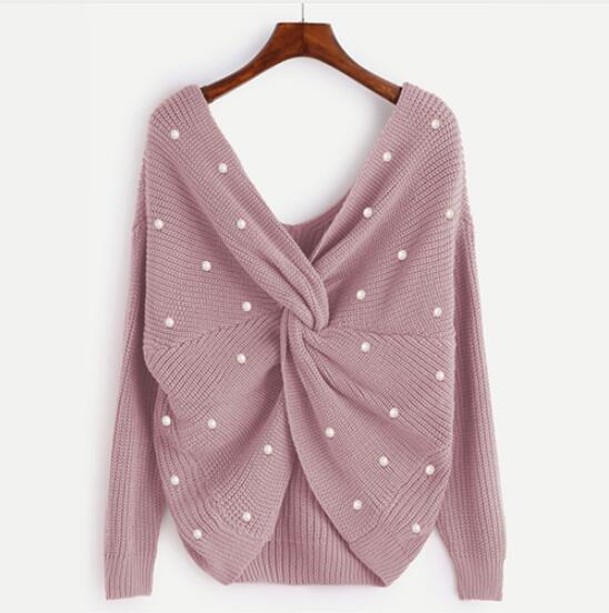 Pearl Beading Twist Infinity Sweater Sweet Ladies Long Sleeve Pullovers Fall 2018 Fashion Women V Neck Casual Sweater