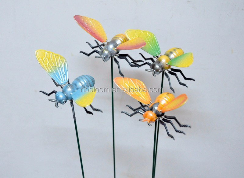 4 Inch Pearl Powder Plastic Bee Garden Ornamental Products For Wholesaler