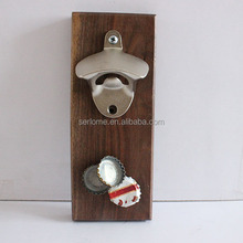 Wood Magnetic Round Wall Mount Bottle Opener