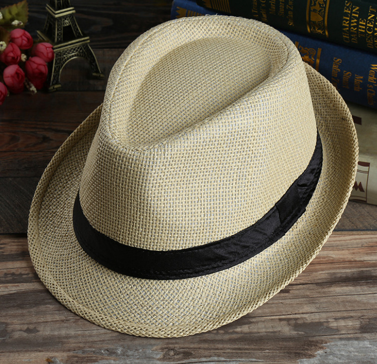 2016 Children Solid Straw hats Panama Fedora hat for children and adult Summer beach cowboy kids jazz caps