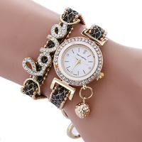 2017 New ladies watches love words Fashion Women diamonds bracelet watch Wrap leather Quartz Wrist Watch
