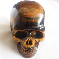 Natural Crystal Carving Yellow Tiger Eye Skull From China Supplier