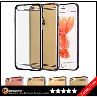 Keno Premium Ultra Slim Soft Transparent Crystal Clear Back Panel + Electroplate Plating TPU Bumper Case for iPhone 6 6S
