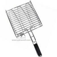 ST114 Wooden Handle Stainless Steel Three Fishes bbq grill net