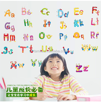 Decorative removable cartoon alphabet letter wall stickers