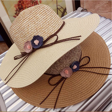 Wholesales wide brim floppy beach elegant sun hats for Women summer straw Hats with flower flat caps