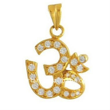 Gold Plated Crystal Om Pendant Charm Wholesale