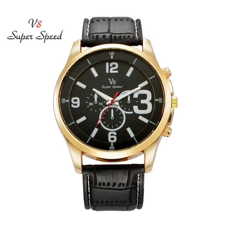 Man Fashion Gold Stainless Steel Case Wristwatch Leather Band Sport Outdoor Simlpe Analog Quartz Watches fake three eye watch