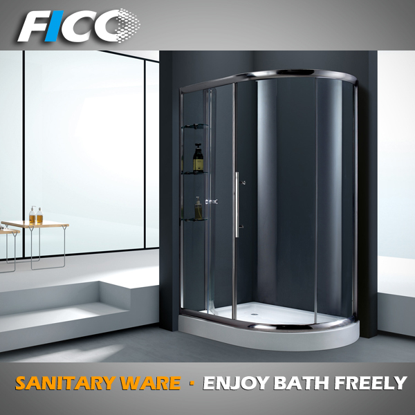 Fico new arrive 2016 FC-525,luxury golden plating smooth sliding glass shower door