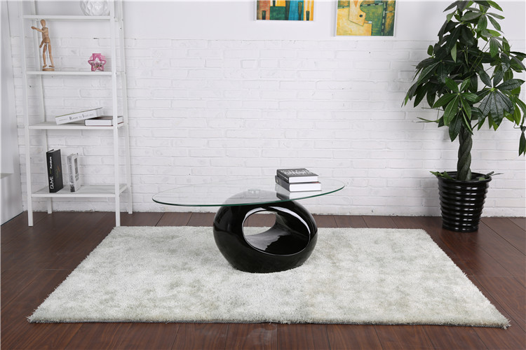 Oval Fiber glass tea table  high gloss ring designs Black Coffee Table