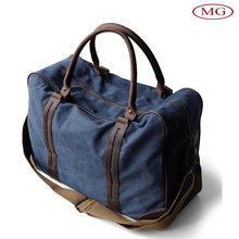 Portable canvas&genuine leather duffle travelling bags with removable shoulder strap
