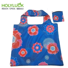 Flower Ripstop Blue Grocery Free Reusable Shopping Folding Foldable Polyester Flodable Bag