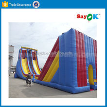 Three lanes giant adult inflatable slide 20*6*8m 0.55mm PVC