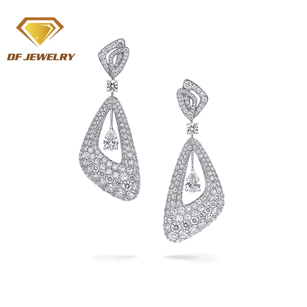 Latest fashion jewellery Bridal Party White Cubic Zirconia long hanging earrings