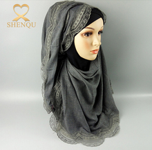 Wholesale cotton scarves colorful lace stylish Arab muslim head hijab scarf