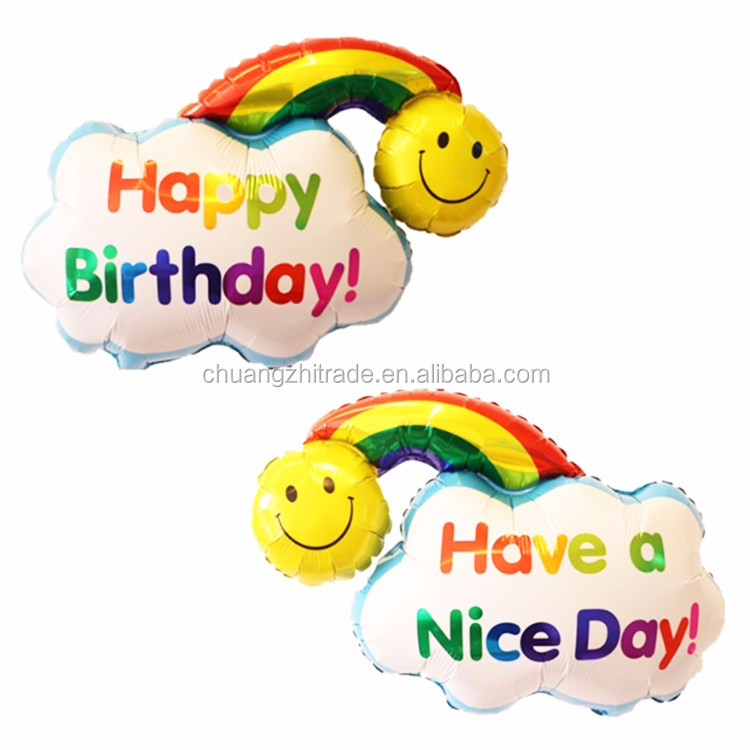 Middle size party happy birthday have a nice day double-sided pattern rainbow balloon with smiley face smiling emoji printed