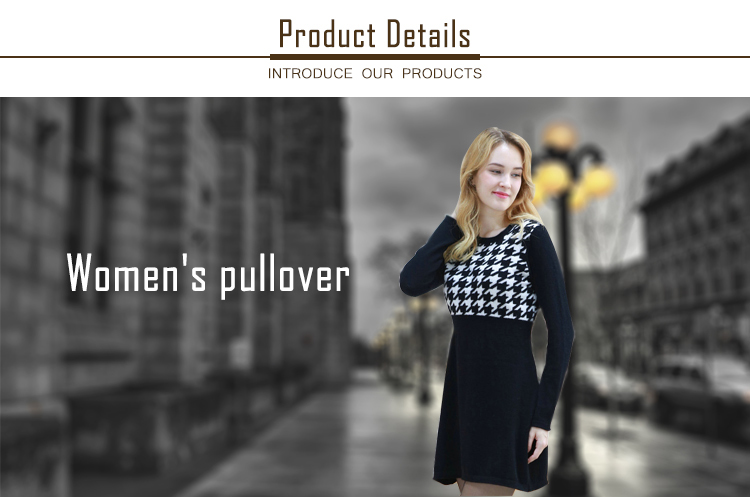 2017 new cotton long sleeves round neck womens sweater dress