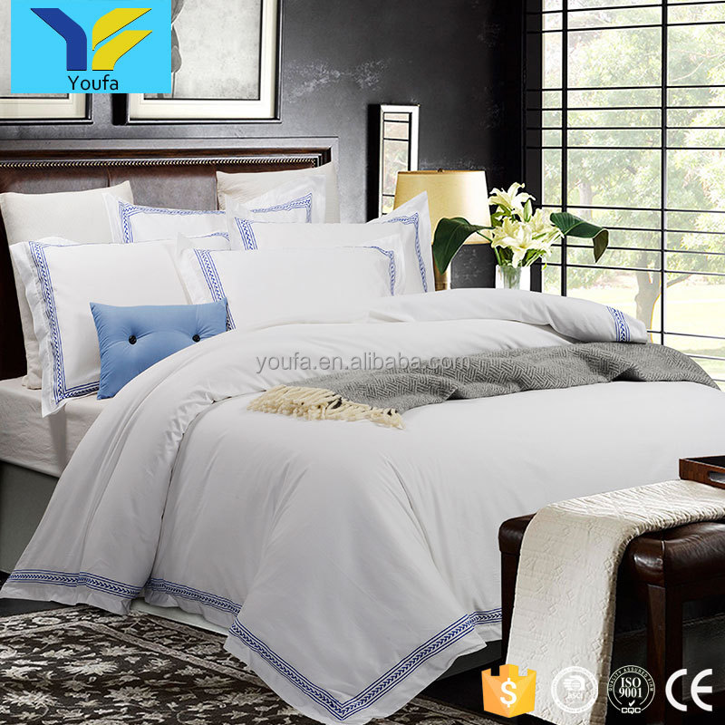 High quality embroidered 4pcs cotton sateen luxury bed sheet set hotel bedding set