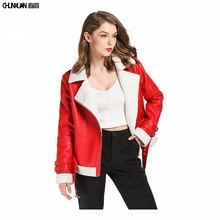 2018 newest women red synthetic leather jacket