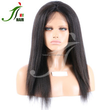 8A Peruvian Light Yaki Straight Full Lace Wig Human Hair Lace Front African American Yaki Wig with Baby Hair For Black Women