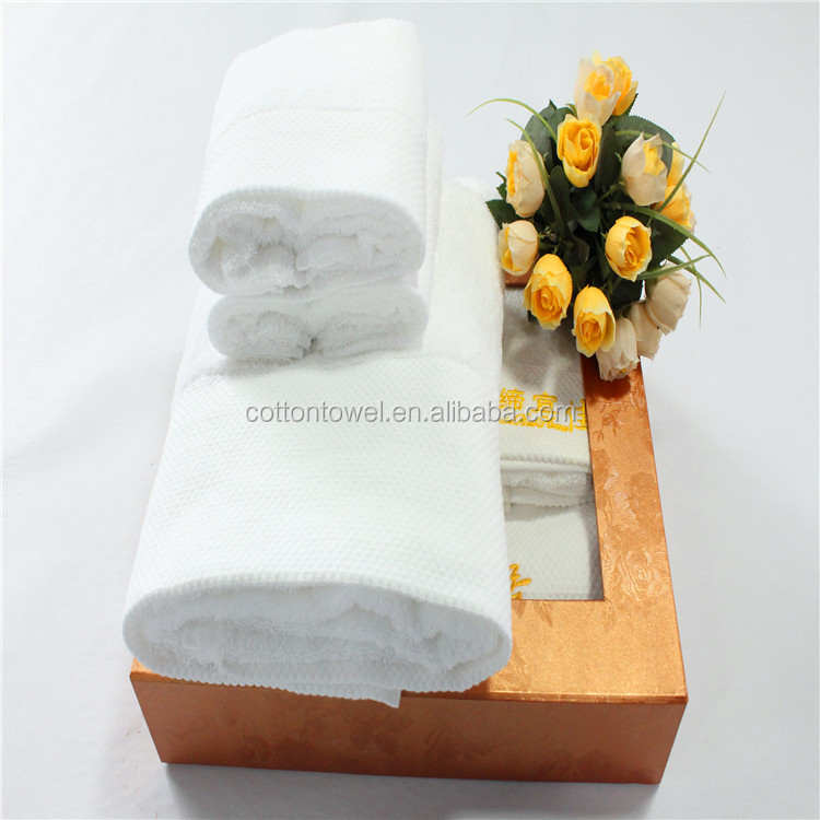 35x75CM 100% cotton HOTEL TOWEL with crisp-white with customer embroidery logo