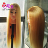 "On Sale 24"" Blonde Yaki Synthetic Hair Mannequin Head Female Hairdressing Styling Training Head With Make Up"
