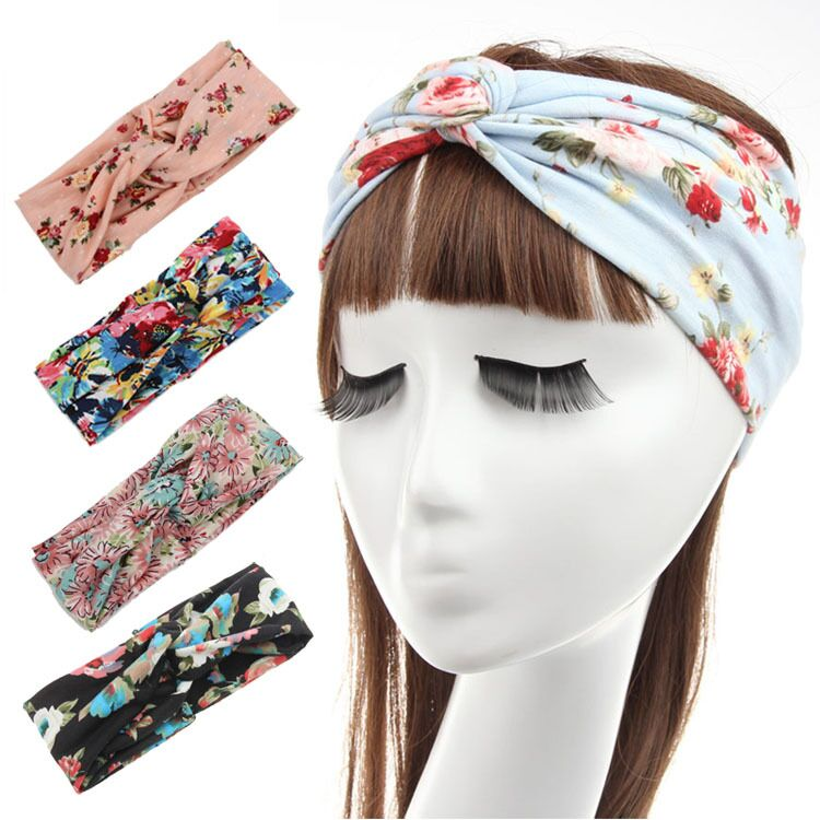 Ladies fashion boho knotted headband tie dye hollow hair accessoires