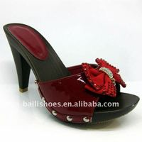 New fashion ladies high heel pu slipper with diamond made in China