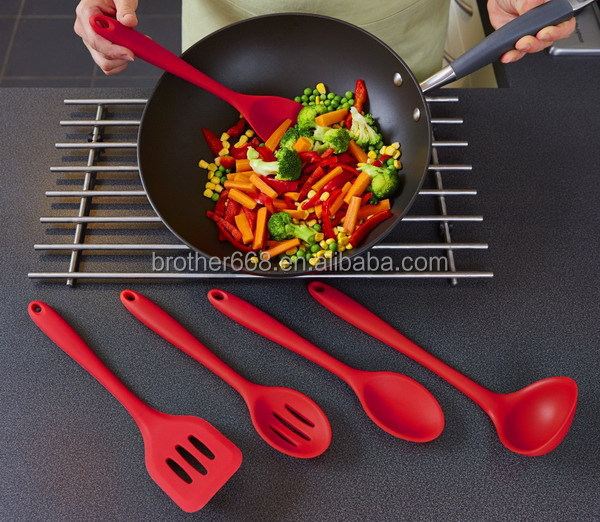 Best Silicone Kitchen Utensil 5 Piece Cooking Set - Turner, Spoonula,Spoon,Slotted Spoon,Ladle, Easy to Use & Clean