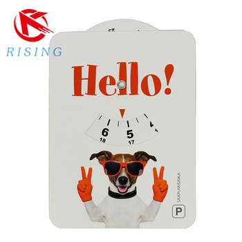 advertising 85*55mm mini self adhesive plastic PVC parking disc with customized disgn