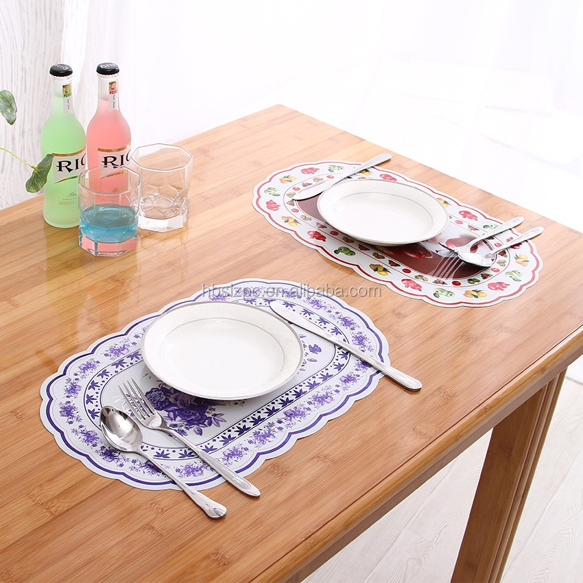custom printed oval white vinyl placemats