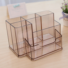 Clear Acrylic Desktop Rose Gold File Organizer with 3 Sections Holders
