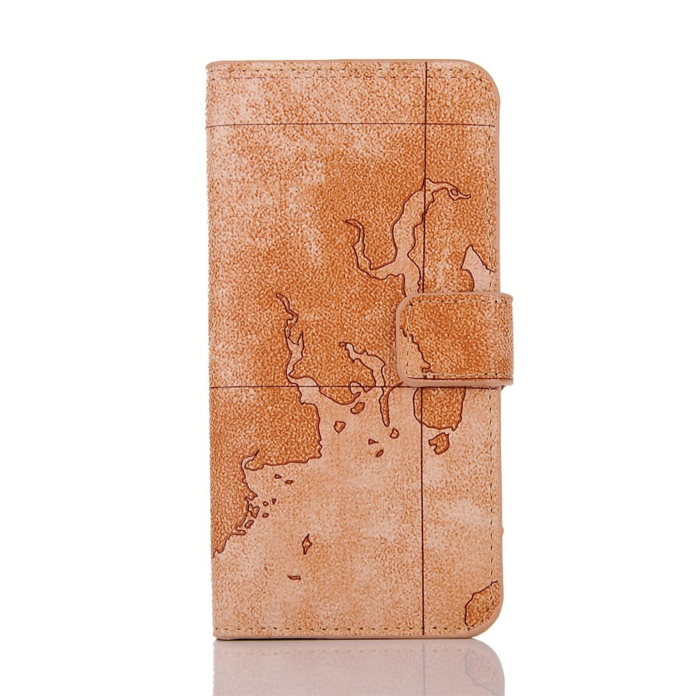 luxury retro map pattern phone case for apple iphone 7 flip stand wallet mobile cover for iphone 7 case