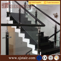Luxury Stainless Steel Glass Stair Wood