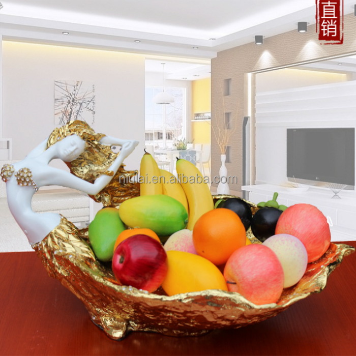 resin beautiful sexi girl figure fruit tray statue hotel ornament