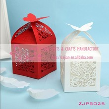 Red and White Laser Cut Hollow ROSE Wedding Paper Butterfly Candy Boxes Party Favor Boxes Wedding Decoration