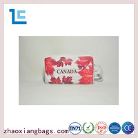 Zhaoxiang 2016 fashion red maple leaf custom pu cosmetic bags