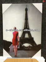 BD-59 3d Decorative Fabric Painting With Naked Girl And Eiffel Tower