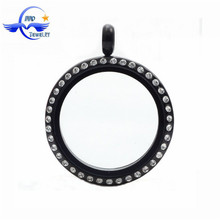 Black Color 30mm Round Stainless Steel Glass Locket Memory Charm Floating Locket