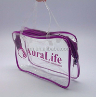 Clear pvc zipper bag in tube for blanket with handle style