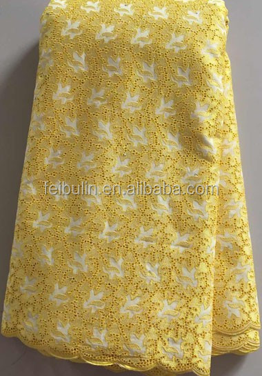 2017 wholeslae curtain YELLOW 100% cotton embroidery lace fabric fashion style for woven clothes LL2872
