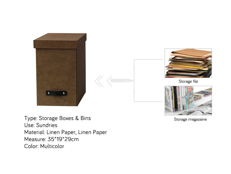 NAHAM Linen Paper File Storage Boxes With Lids