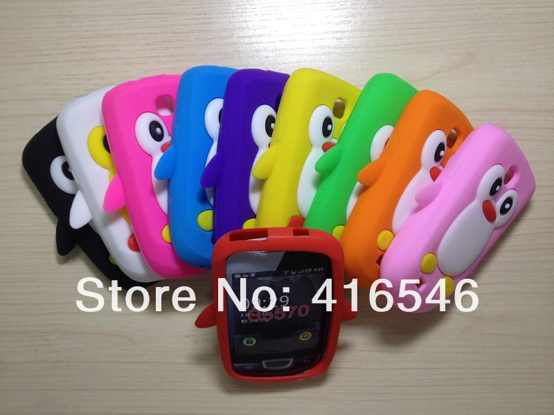 3D Penguin Soft Silicone Case Back Case for Samsung Galaxy Mini S5570