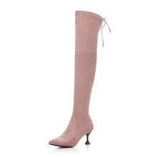 New arrival leather high heel thigh high boots for women