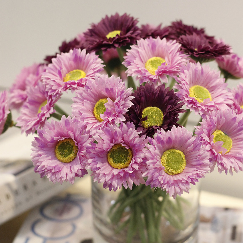 Artificial Zinnia Flowers French Dovetail Daisy, Real Touch Color Artificial Daisies Bulk Artificial Flowers Real Touch Flowers